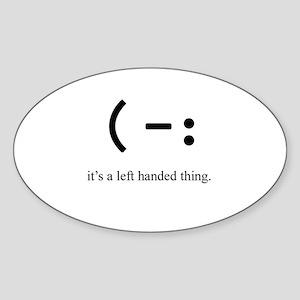 left handed Oval Sticker