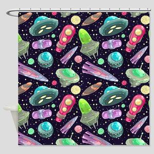 Cartoon UFO Pattern Shower Curtain