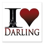 "I Heart Darling Square Car Magnet 3"" x 3&quot"