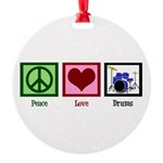 Peace Love Drums Round Ornament
