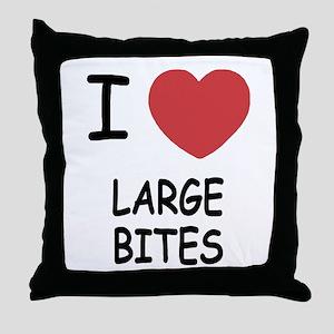 I heart large bites Throw Pillow