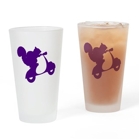 Purple Squirrel on Scooter Drinking Glass