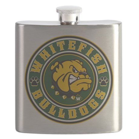 bulldog whitefish whitefish bulldogs circle flask by highaltitudes3 4089