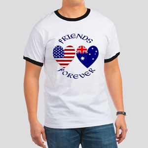 Australia USA Friends Forever Ringer T