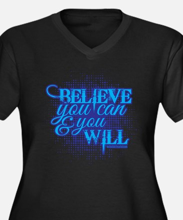Believe you can Women's Plus Size V-Neck Dark T-Sh