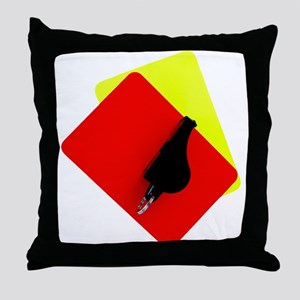 red and yellow card Throw Pillow