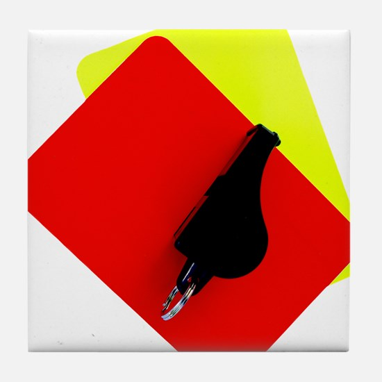 red and yellow card Tile Coaster