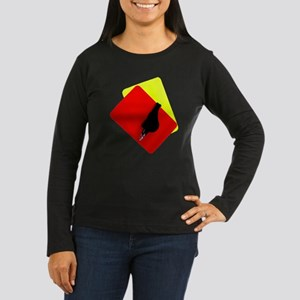 red and yellow card Women's Long Sleeve Dark T-Shi
