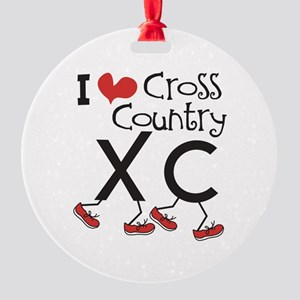 I heart Cross Country Running Round Ornament