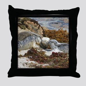 Harbor Seal Mom Kisses Pup Throw Pillow