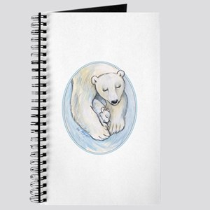 Mom and baby polar bears napping Journal