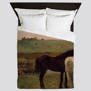 Edgar Degas Horses In A Meadow Queen Duvet