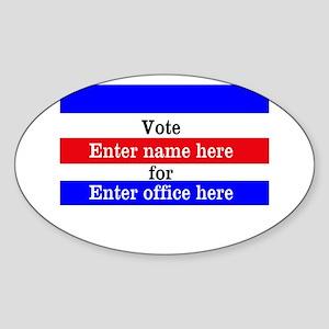 Striped Campaign Sticker (Oval)