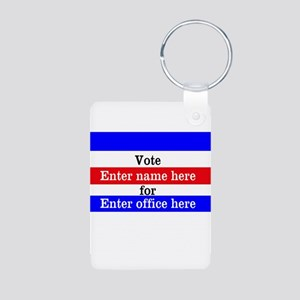Striped Campaign Aluminum Photo Keychain