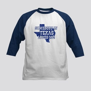 Somebody In Texas Loves Me! Kids Baseball Jersey