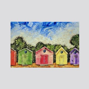 Beach Huts Rectangle Magnet