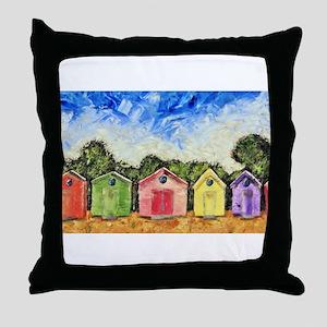 Beach Huts Throw Pillow