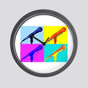 Pop Art Microphone Illustration Wall Clock