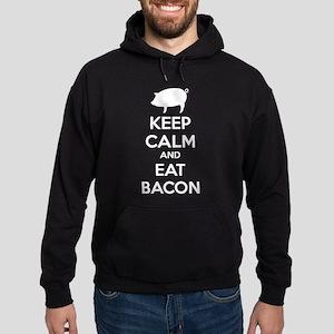 Keep calm and eat bacon Hoodie (dark)