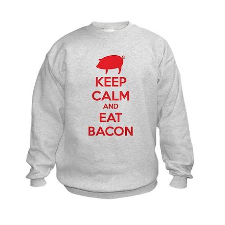 Keep calm and eat bacon Kids Sweatshirt