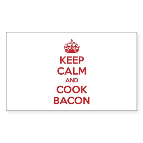 Keep calm and cook bacon Sticker (Rectangle)