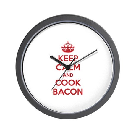 Keep calm and cook bacon Wall Clock