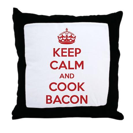Keep calm and cook bacon Throw Pillow