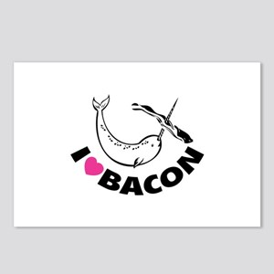 I love bacon narwhal Postcards (Package of 8)
