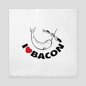 I love bacon narwhal Queen Duvet