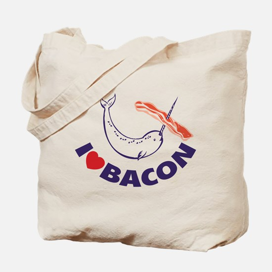 I love bacon narwhal Tote Bag