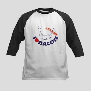 I love bacon narwhal Kids Baseball Jersey
