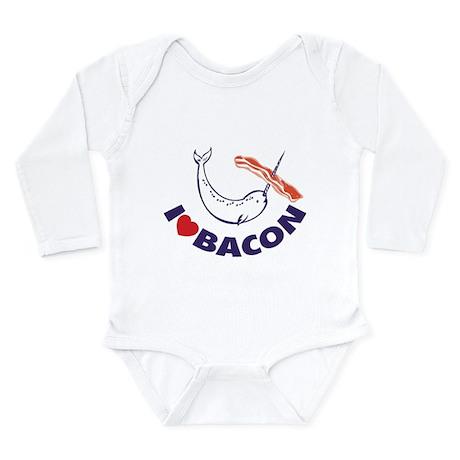 I love bacon narwhal Long Sleeve Infant Bodysuit