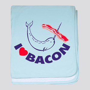 I love bacon narwhal baby blanket