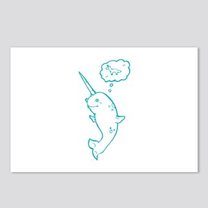 narwhal dreaming of unicorns Postcards (Package of