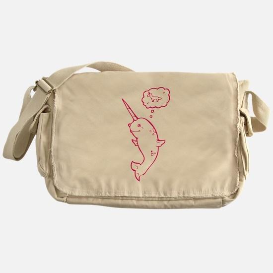 narwhal dreaming of unicorns Messenger Bag