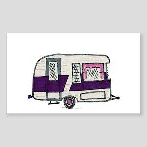 Cutie Purple VIntage Trailer Sticker (Rectangle)