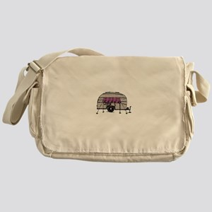 Vintage Airstream Camper Trailer Art Messenger Bag