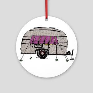 Vintage Airstream Camper Trailer Art Ornament (Rou