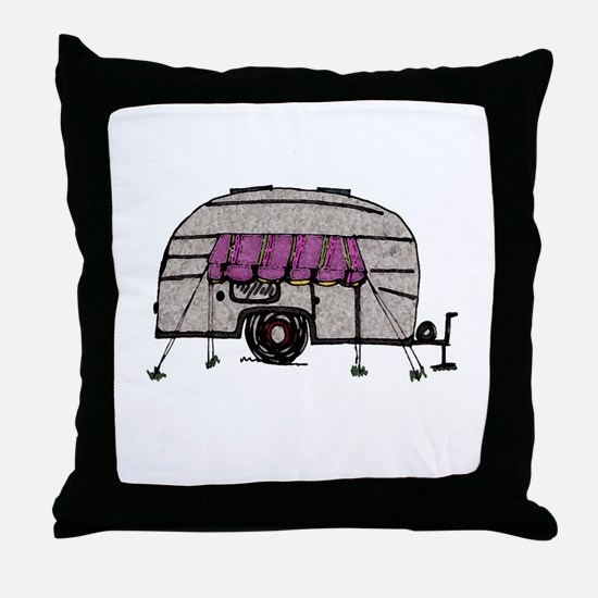 Vintage Airstream Camper Trailer Art Throw Pillow