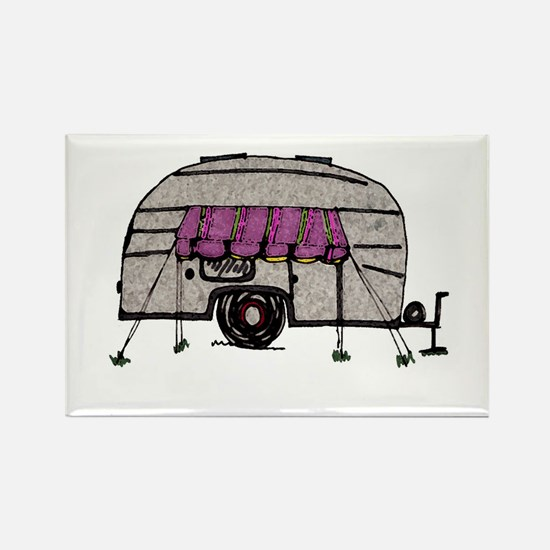 Vintage Airstream Camper Trailer Art Rectangle Mag
