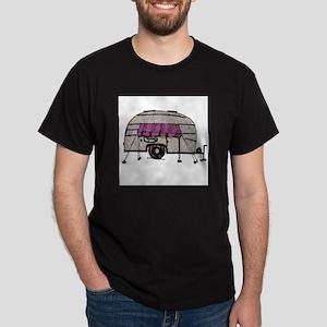 Vintage Airstream Camper Trailer Art Dark T-Shirt