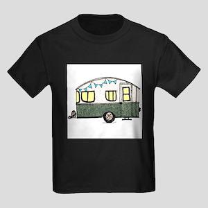Vintage Camper Trailer with flags Kids Dark T-Shir