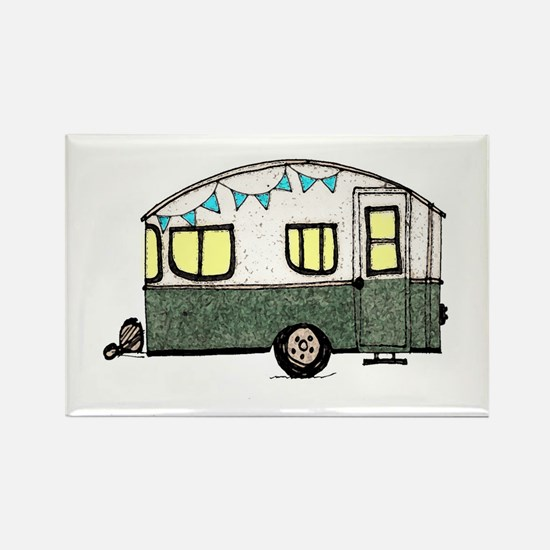 Vintage Camper Trailer with flags Rectangle Magnet
