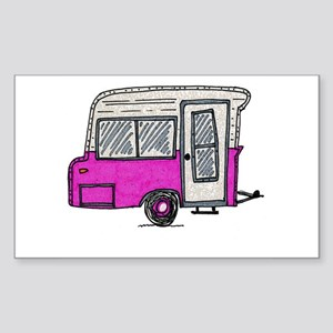 pinky vintage camper trailer Sticker (Rectangle)