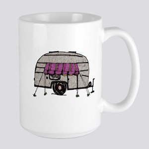 Vintage Airstream Camper Trailer Art Large Mug