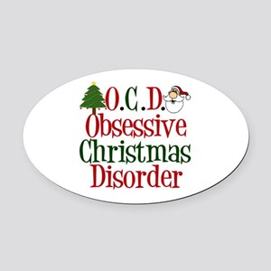 Christmas Crazy Oval Car Magnet