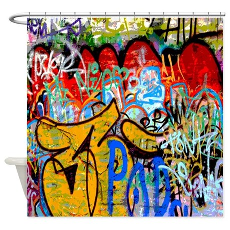 Colorful Graffiti Urban Art Shower Curtain by rebeccakorpita
