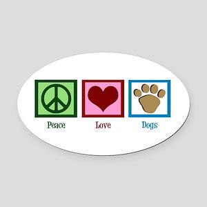 Peace Love Dogs Oval Car Magnet