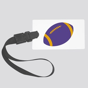 Purple and Gold Football Large Luggage Tag
