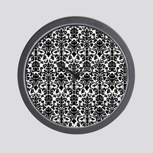 Black Damask Wall Clock